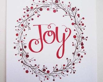 Rustic Christmas Decor, Joy, 8x10 or 5x7 Art Print, Red
