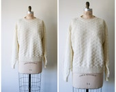 Ivory Sweater / Vintage 90s Cream Knit Pullover / Oversized Baggy Sweater