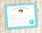 Certificate of Adoption Puppy Birthday Party Favor Kids Turquoise Printable INSTANT DOWNLOAD