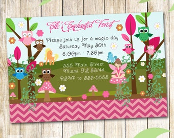 Enchanted Forest Birthday Invitation - Personalized Girl Party Invite Owl Pixie Fairy Unicorn Printable