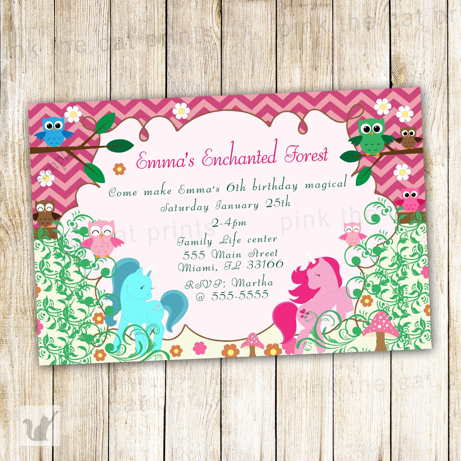 Enchanted Forest Birthday Invitation Personalized Girl Party