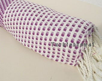 Turkishtowel-2015 Collection-Softest,Hand Woven,Cotton Bath,Beach,Pool,Spa,Yoga,Travel Towel or Sarong-Purple,Cream Stripes