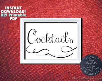 Cocktails Instant Download Calligraphy Wedding Sign 5x7 8x10 Decor Diy PRINTABLE Signage Table Setting Party Decor Event Rustic Card Script