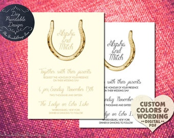 Rustic Country Western Gold Horseshoe Wedding Invitation Irish Elegant Custom Golden Tradition Unique Idea New 2016 Trend Southern Modern