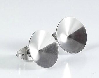 12mm Rivoli cup Earring post , Hypoallergenic stainless steel