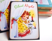 Christmas Postcard Set * Silent Night Waiting For Santa Christmas Eve Girl And Kitten Holding Candles - 4 Large Postcard Greeting Cards
