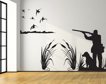 Mallard duck hunting wall decal 8ft large hunter and dog for Duck hunting mural