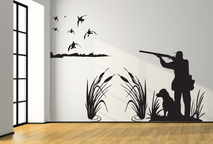 Mallard Duck Hunting Wall Decal 8ft Large Hunter And By