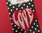 Love Heart Embroidered Felt Clip by The Spunky Little Monkey