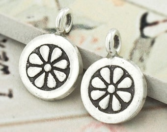 4 of Karen Hill Tribe Silver Flower Printed Circle Disc Charms 10 mm. :ka4078