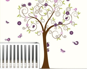 Tree Decal with Ladybugs,Birds,Butterflies-Wall Decals Nursery Wall Art Vinyl Decals-e70