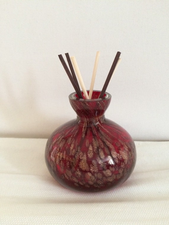Red with Gold Glass Bottle Diffuser or Oil Lamp