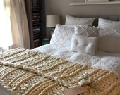 Giant Knit Blanket : 75x60 Super Luxurious Thick and Bulky Wool Knit Blanket - Modern Art Blanket