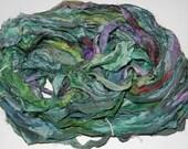 Recycled Sari Silk Ribbon Yarn Aloe Essence multi color, 65 yards, 3.5 oz / 100 grams