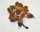 Warner Mechanical Peony Brooch, Moveable Blooming Flower, Vintage Goldtoned Signed Pin c1950s, FREE SHIPPING
