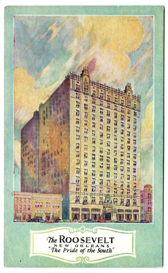 New Orleans Roosevelt Hotel Postcard Louisiana Antique