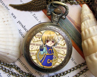 Hunter x Hunter HxH Kurapika Gon Killua Hisoka Illumi Kuroro Biscuit Feidan Shizuku necklace bronze antique pocket watch  keychain key chain
