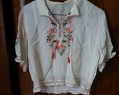 1920s 1930s Silk White Hungarian Blouse Shirt Top Bohemian  Flapper Small