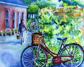Red Bicycle at the Studio -print of  watercolor painting  6 x 8 inches  with  ivory mat