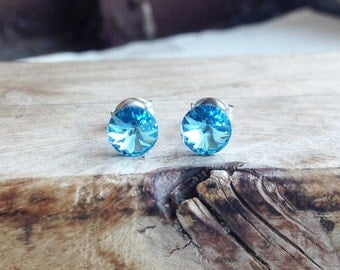 Get 15% OFF - 6mm Swarovski Crystal Aquamarine Light Blue Crystal, Silver Surgical Steel Post Earrings - 4th of July SALE 2017