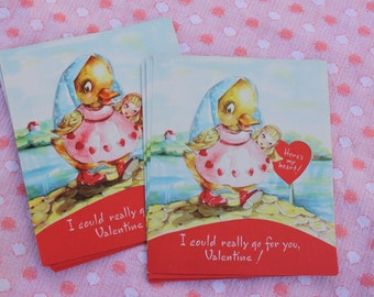 Vintage Unused Valentines Day Card,  Duck with Heart