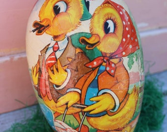 Vintage Cardboard Paper Mache Easter Egg Container, Made in Western Germany, Duck Couple,Medium