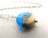 Sea Glass Necklace, Wave Necklace, Seaglass Pendant, Seaglass Necklace, Lampwork Bead, Beach Necklace, Beach Jewelry, Ocean Necklace