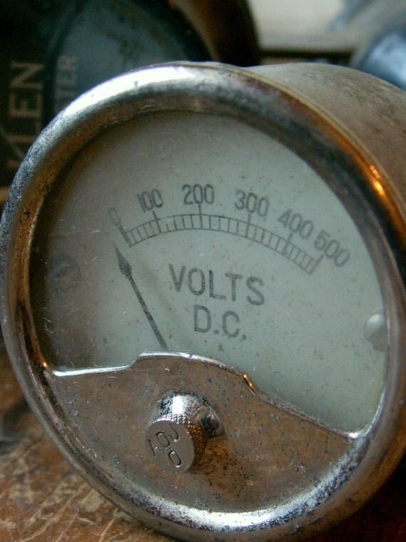 Vintage Silver Volt Gauge - Great Guy Gift