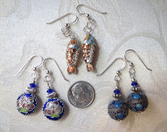 Set of 3 Pairs Silver Cloisonne Enamel Earrings w Sterling Silver Wires