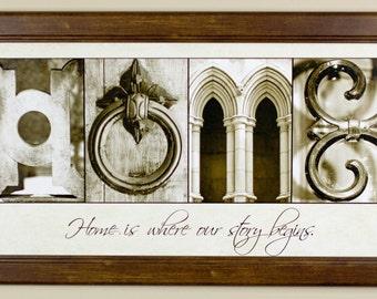 """Alphabet Photography Letter photos """"HOME"""" 10x20 Framed"""