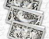 Black and White Art  Nouveau Gift Cards DIY Digital Collage Sheet Mini Folded Cards Swing Tags for Gift Giving Printable Download 628