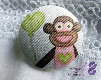 Fabric buttons, monkey