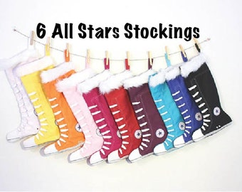 Personalized Christmas stockings set of 6: PICK 6 colors - All Atar Stockings- 11 colors to choose