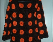 Crochet brown chocolate  granny square  tangerine orange puff stitch flowers  1960-s hippie bohemian coat jacket cardigan  OOAK