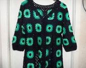 Crochet granny square dark blue teal peppermint 1960-s hippie boho womens coat jacket cardigan XL OOAK