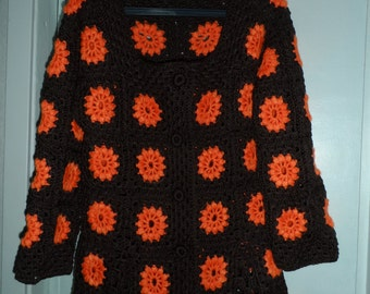 SALE! Crochet brown chocolate  granny square  tangerine orange puff stitch flowers  1960-s hippie bohemian coat jacket cardigan  OOAK