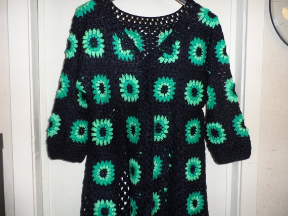 SALE!  Crochet granny square dark blue teal peppermint 1960-s hippie boho womens coat jacket cardigan XL OOAK