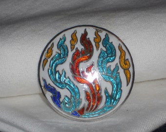 Vintage Thailand Sterling Silver and Enamel Brooch Blue, Red, White, and Yellow