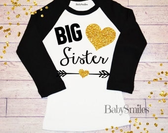 Big Sister Shirt Little Sister Shirt Sibling Shirts Baby Announcement Shirt Pregnancy Announcement Gold Glitter Shirt Many Colors 123