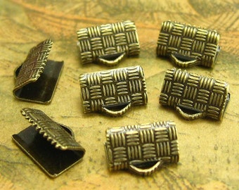 50 pcs Bronze Textured Crimp End for Ribbon Clamps 10mm CH2017