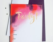 HOT COCKTAIL PARTY flat fill-in invitation set 10 pack