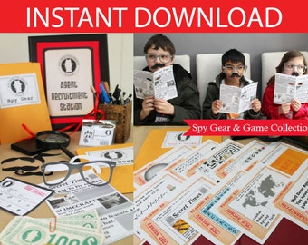 Spy Party Spy Gear and Games Printable Kit - INSTANT DOWNLOAD -