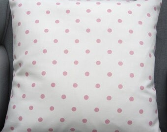 Polka Dot Cushion Cover, polka dot pillow cover, pillow sham, Pink on white, cottage chic, Choose size 14 inch,  16, 17 , 18 , 20 inch