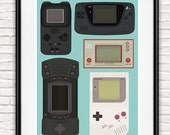 Video game poster nintendo poster, handheld game, geekery art,  gaming poster, retro poster, play room wall art, nursery print, gift for him