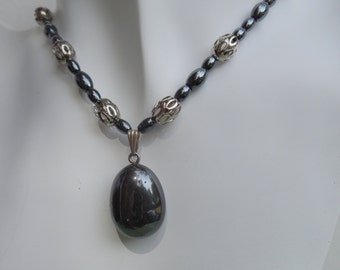 Black Pendant with Black Hematite and Silver Necklace