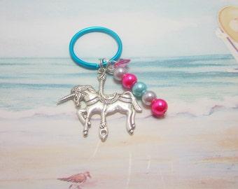 Unicorn Keychain Carousel Horse Swarovski Elements Heart Cotton Candy Pink Aqua Blue Purple Mythical Creature Key Chain 214