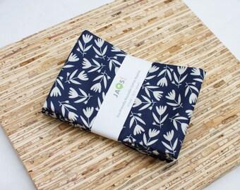 Large Cloth Napkins - Set of 4 - (N2793) - Navy Blue Flower Modern Reusable Fabric Napkins
