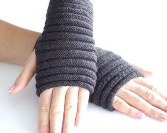 Soft and cozy long cable knit PURE merino wool fingerless gloves in grayish brown melange, catepillar shape -  READY to ship