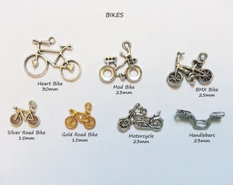 ADD A CHARM - Bikes Bicycle Motorcycles Gears Ribbon Awareness Sports - Chmisc01