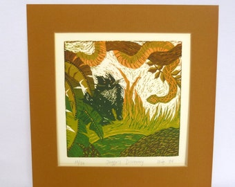 VINTAGE Linocut CAT PRINT/ Limited Edition, Signed